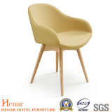 Wholesale Reveting Canary Fabric Dining Chair with Wooden Legs