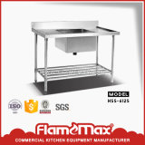 Kitchen Single Sink Table with Perforated Shelf (HSS-612S)