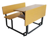 School Double Metal Wooden Table with Attached Chair