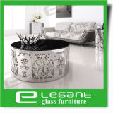 Round Stainless Steel Side Table with Tempered Glass Top