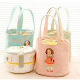 Cute Doll Canvas Portable Children Lunch Bag Insulation Waterproof Pack Picnic Bag