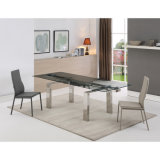Modern Restaurant Furniture Tempered Glass Dining Table Set with Chairs