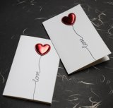Muguang DIY Leather Love 3D Birthday Valentine's Day Greeting Card I Love Your Heart Beating Card New Year Greeting Card