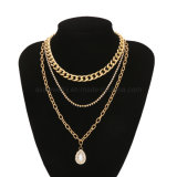 Gold Plated Fashion Jewelry Multi Layer Choker Punk Style Metal Necklace with Rhinestone Drop Pendant