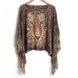 Womens Sweater Cardigan Wraps Lurex Tiger Printing Winter Knitted Shawls Poncho (SP611)