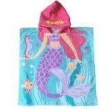 100% Cotton Reactive Printed Kids Hooded Bath Towels for Girl