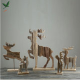 100% Handmade Wooden Christmas Reindeer Creative Beautiful Natural Wood Craft Home/Office Table Decor Holiday Christmas Gift