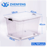Eco-Friendly Top Quality Best Durable High Transparency Clear Plastic Products PP Material Storage Food Container Gift Packing Box with Wheels Lids Wholesale