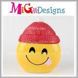 Vibrant Smile Emoji Face with Red Hat Ceramic Money Bank