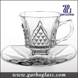 Modern Design Decorative Small Glass Mug & Saucer Set (TZ-GB09D1204ZS)
