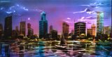 Night Modern City 3D Metal Handmade Oil Painting for Home Decoration