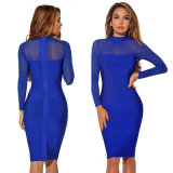 Blue Bandage Dress Lace Dress Long Sleeve Dress