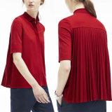 Wholesale European Stylish Half Sleeve Pleated Back Flared Polo Shirt for Women
