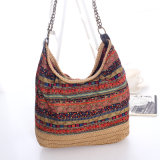 China Bohemian Style Fabric and Paper Straw Ladies Handbags