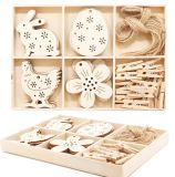 Hanging Wooden Star Crafts Home Decoration Ornaments Easter Holiday Gifts