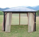 4 X 3m Outdoor Aluminium Polycarbonate Gazebo with Side Curtain