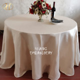 """Factory Cheap 120""""Round Champagne Satin Dinner Table Cloth for Party"""