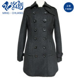 Black Newstyle Double-Breasted Turndown-Collar Long-Sleeve Pockets Slimmering-Waist Ladies Coat