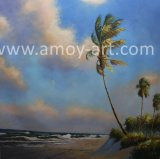 Beach and Tree Handmade Oil Painting on Canvas for Home Decor