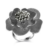 Black Crystal Flower Shape Antique Vintage Fashion Jewelry Accessory Finger Ring