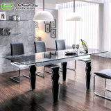 Modern Extension Black Painting Tempered Glass Dining Table