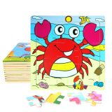 Factory Direct Hot 3D DIY Chindlren Cartoon Wooden Frame Puzzle Educational Toys Crab