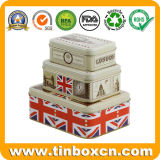 Custom Rectangular Tin Box for Food and Gift Packaging, Metal Container Set