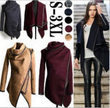 Women′s Stylish Winter Wool Sleeved Coats Europe Women Coat