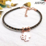 New Design Fashion Jewelry Simple Bracelet in Leather with Rose Gold Plated Clover Pendant