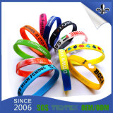 Colorful Debossed Ink 3/4 Inch Fashion Jewelry Silicon Bracelet