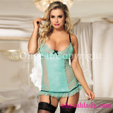 in-Stock Hot Selling New Arrivals Green Gartered Chemise Sexy Babydoll for Women