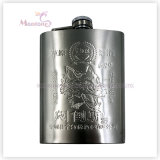 Liquor/Whisky Flask, Stainless Steel Hip Flask with Embossed Logo Print