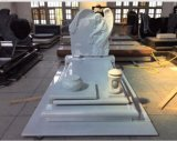 Haobo Stone Carved Sitting Angel White Marble Kerbed Memorials and Tombstones