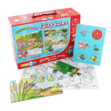 Paper gift box and jigsaw puzzle