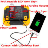 10W LED Work Light Rechargeable Camping Lantern IP55 Waterproof Power Bank Portable Outdoor Walking Hiking Emergency Lamp Daylight White Red Flash