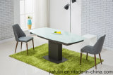 Modern Dining Table Set Factory Extension Oil Painted Glass Metal Furniture
