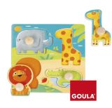 Wooden Animal Puzzle Toy with Wooden Handle