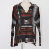 Ladies′ Hoodie Sweater Jacket in Heavy Guage with Pockets and Intarsia Design