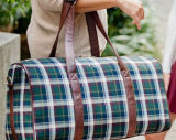 Monogrammed Plaid Tartan Duffel Bag Luggage Weekender Tote Bag