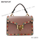 New Fashion Beautiful PU Handbag for Young Lady &Women Small Cross Body Bag Trendy PU Lady Handbag with Colorful Studs Lady Bag for Promotion Gift Leather Bag