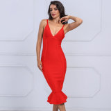 Spring of 2018 Women Bandage Dress V Neck Spaghetti Straps Knee Length Mermaid Celebrity Dresses Evening Party Dresses