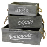 Rustic Wood Vegetable Fruit Tray Crates 3-Pack