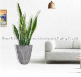 Manufacturer Price Modern Nordic Style High Quality Decorative Vertical Stripes Plastic Flower Pot Plant Pot Garden Planter