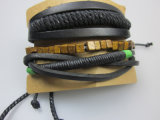 Braid Polyester Cord Leather Set Bracelet for Man Fashion Accessory Jewelry