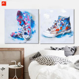 Watercolor Short Boots Cotton Canvas Painting for Decor