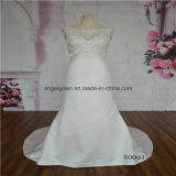 Satin Sleeveless Mermaid with Lace Decoration Bridal Dress