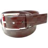 2016 Fashion Checkered Design Men Dress Belt PU Leather Belt