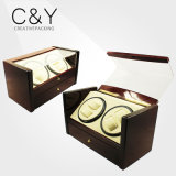 Dard Brown PU Leather Cover Wooden Watch Winder