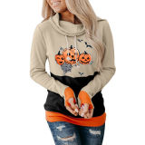 New Product Ideas 2021 Cowl Neck Pumpkin Pattern Print Color Block Halloween Woman Hoodies Sweat Shirts