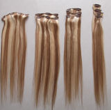 European Hot Selling Human Hair Clip in/on Hair Extensions